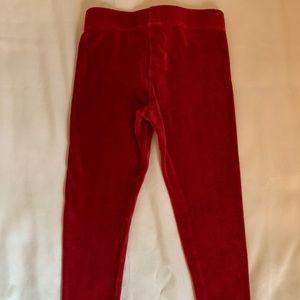 Mini Boden Girl's Red Velvet Leggings